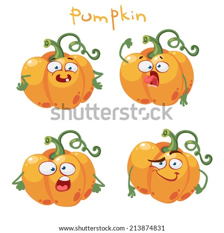 Cartoon funny character with many expressions of pumpkin - stock vector
