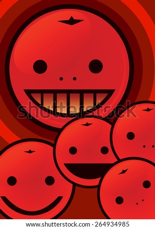 Cartoon funny citrus, vector illustration
