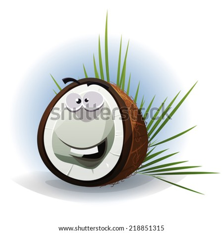 Cartoon Funny Coconut Character/ Illustration of a funny happy cartoon coconut character with palm leaves - stock vector