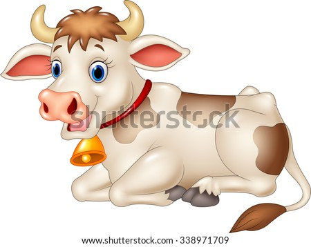Cartoon funny cow sitting.Isolated on white background