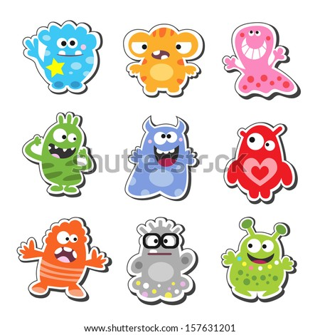 Cartoon funny & cute monsters icons set, isolated vector illustration - stock vector