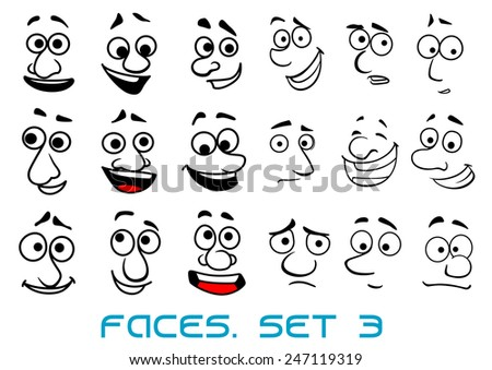 Cartoon funny faces in doodle sketch style with happiness, joyful, sad, unhappy, surprise emotions for avatar or comics design - stock vector