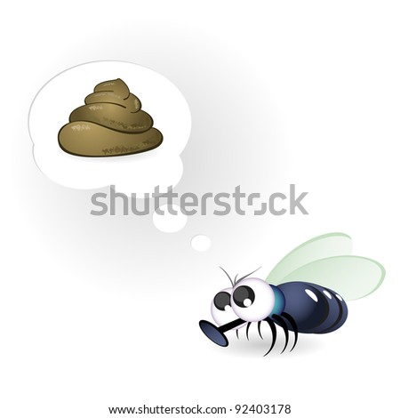 Cartoon Funny Fly. Illustration on white background - stock vector