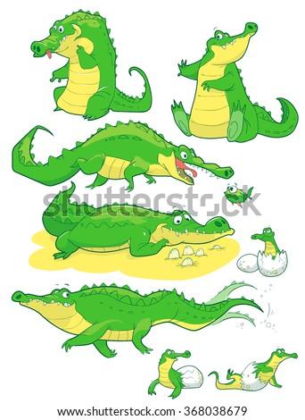Cartoon funny friendly alligators crocodiles vector - stock vector
