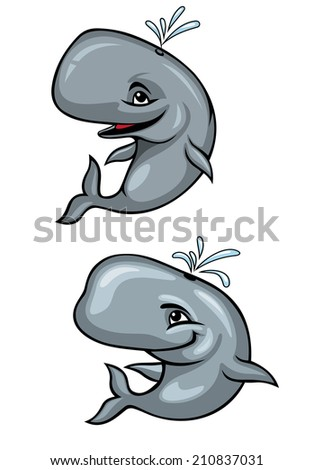 Cartoon funny grey whales isolated on white for mascot - stock vector