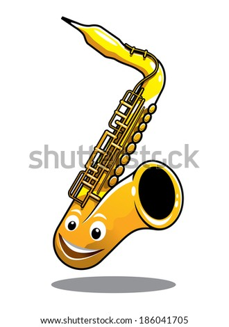 Cartoon funny happy brass saxophone musical instrument with a cute smiling face isolated on white - stock vector