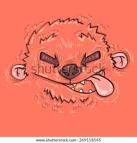 Cartoon funny monster. Cartoon cute monster shows tongue. Vector. Sticker. Cartoon character. Card. child's print for T-shirts - stock vector
