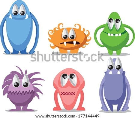 Cartoon funny monsters