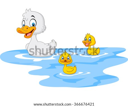 Cartoon funny mother duck with baby duck floats on water - stock vector