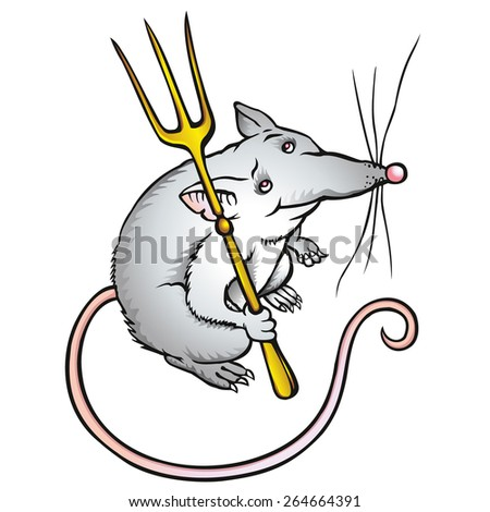 Cartoon funny mouse character with a gold fork; RGB EPS 10 vector illustration - stock vector