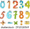 Cartoon funny numbers - stock vector