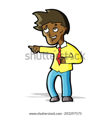 cartoon funny office man pointing