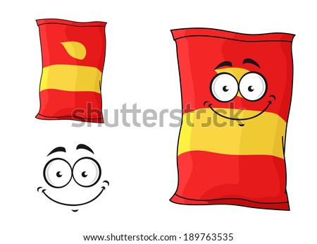 Cartoon funny packet of chips or crisps isolated on white for fastfood design - stock vector