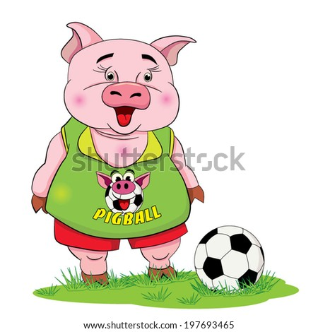 Cartoon funny piggy-footballer with a football on the lawn.  - stock vector