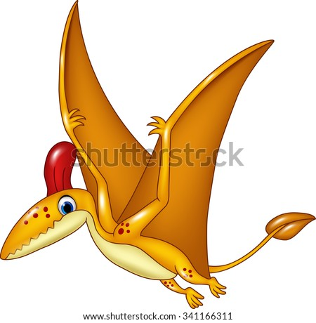 Cartoon funny pterodactyl flying isolated on white background  - stock vector