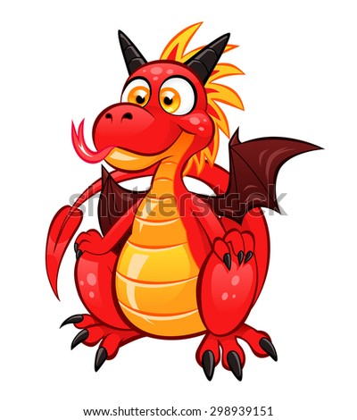 Cartoon funny red dragon on the white background. - stock vector