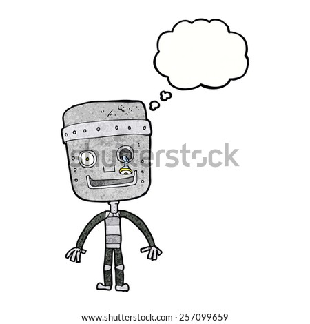 cartoon funny robot with thought bubble - stock vector