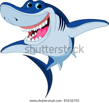 Cartoon  funny shark isolated on white background - stock vector