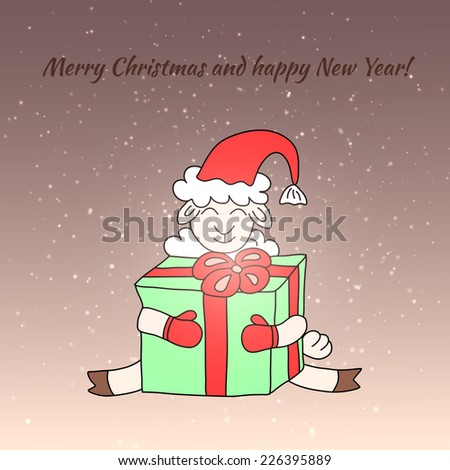 Cartoon funny sheep with gift. Vector Christmas illustration - stock vector