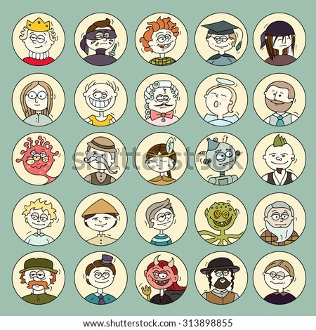 Cartoon funny user circle avatars in trendy hand drawn doodle style. Set of men faces with different emotions, professions, hobby. Cute vector illustration isolated on white. - stock vector