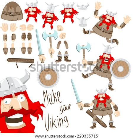 Cartoon funny viking. Viking of separate parts - you can easily change posture, facial expression, weapons, helmet. - stock vector