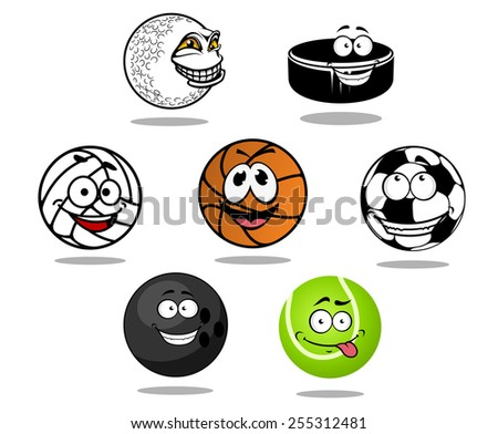 Cartoon game balls characters with soccer, golf, basketball, volleyball, bowling, tennis balls and hockey puck - stock vector