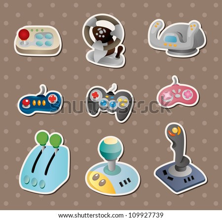 cartoon game joystick stickers - stock vector