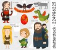 Cartoon Game of Thrones in vector. Funny cute characters. Part I - stock photo