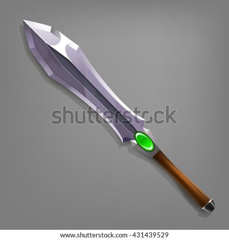 Cartoon game sword. Vector illustration. - stock vector