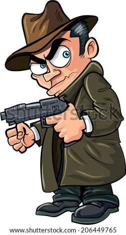 Cartoon gangster with a gun and hat. Isolated