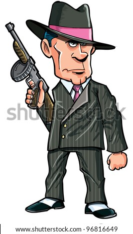 Cartoon 1920 gangster with a machine gun. Isolated - stock vector