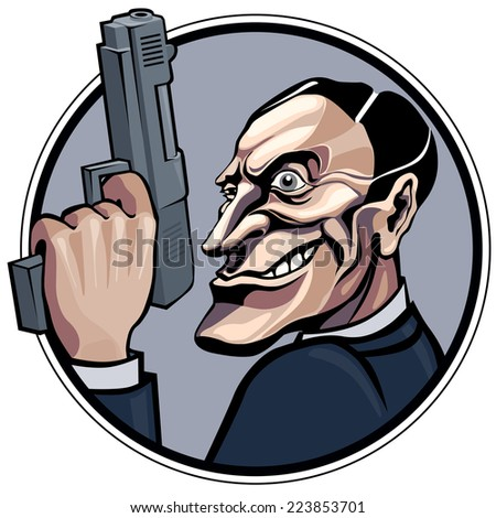 Cartoon gangster with gun. Eps8 CMYK Organized by layers Gradients free - stock vector