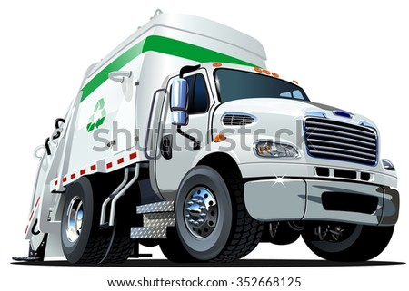 Cartoon Garbage Truck isolated on white background. Available EPS-10 vector format separated by groups and layers for easy edit - stock vector