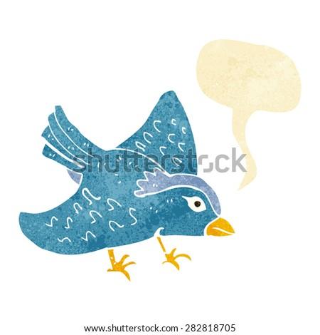 cartoon garden bird with speech bubble - stock vector