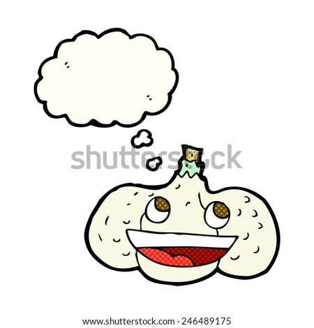 cartoon garlic with thought bubble - stock vector
