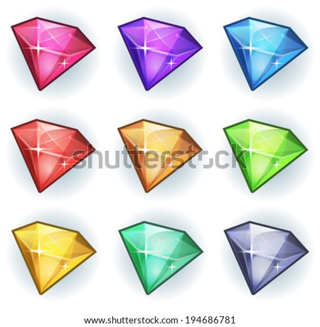 Cartoon Gems And Diamonds Icons Set/ Illustration of a set of glossy and bright cartoon gems stones, diamonds, minerals and jewels icons, for game user interface - stock vector