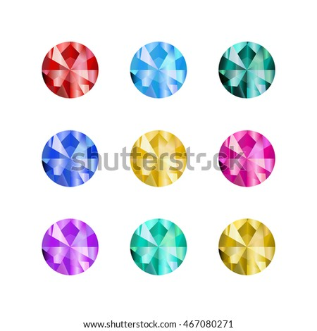 Cartoon gems stones. Precious stone  isolated on white background. Vector collection of bright crystals for game design