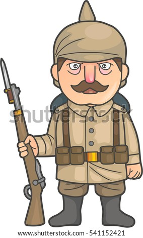 Cartoon German soldier during World War one