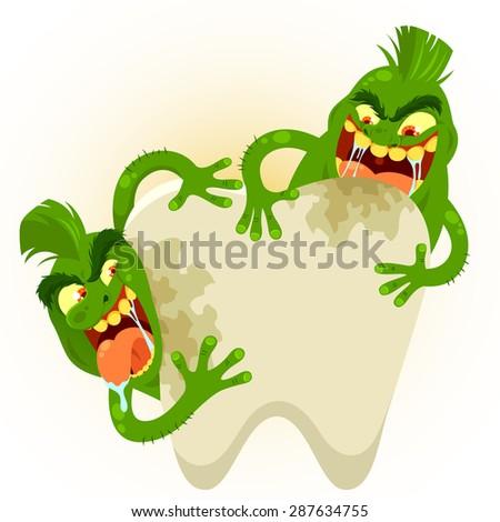 cartoon germs destroying a tooth - stock vector