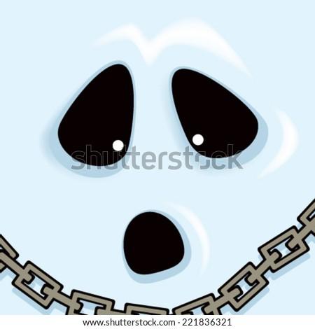 Cartoon Ghost Face - stock vector