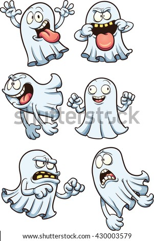 Cartoon ghosts. Vector clip art illustration with simple gradients. Each on a separate layer.  - stock vector