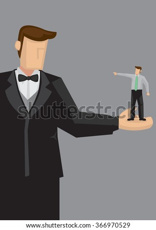 Cartoon giant man in formal suit and bow tie with a small man on his palm pointing at him. Creative vector illustration isolated on grey background. - stock vector