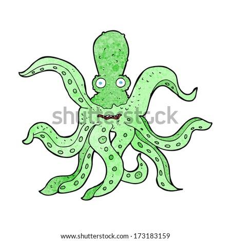 cartoon giant octopus - stock vector