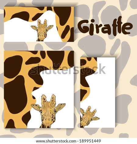 Cartoon giraffe animal envelope. With clipping mask.