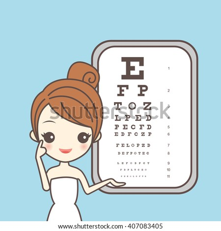 cartoon girl care her eye with ophthamology chart, great for eye care concept