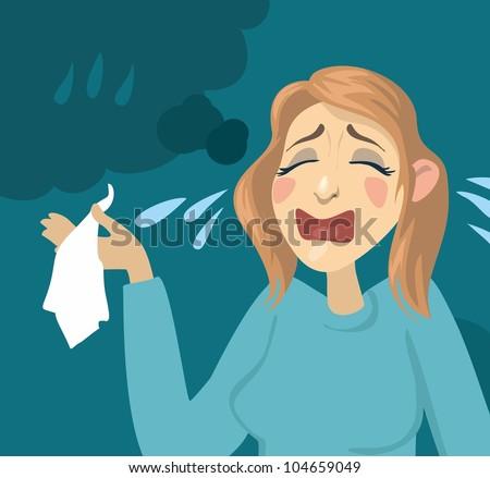 Cartoon girl crying. girl with a handkerchief and tears - stock vector