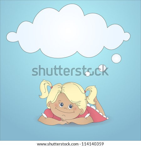 Cartoon girl dreaming with a thought bubble made of clouds. Color abstract illustration with stylized personage and text box in cartoon style. - stock vector
