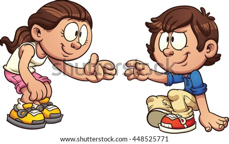 Cartoon girl helping a boy get up. Vector clip art illustration with simple gradients. Each on a separate layer.  - stock vector