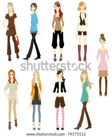 cartoon girl icon - stock vector