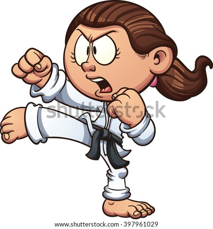 Cartoon girl practicing karate. Vector clip art illustration with simple gradients. Head, front arm, ponytail and body on separate layers. - stock vector